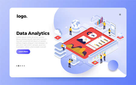 Isometric design concept people interactive working analyzing statistics. Data visualization 3d object. Website design landing page mockup. Vector illustrations.