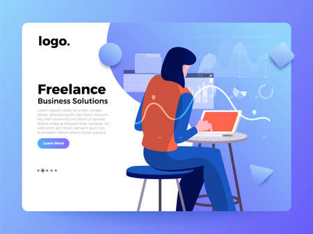 Mockup landing page website flat concept people of business solution. Creative solution provider. Vector illustrations. Imagens - 119684465