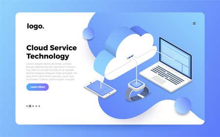 Mock-up design website flat design concept cloud computing technology users network configuration isometric. Vector illustration. Ilustração