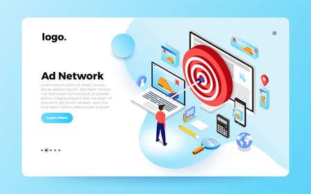 Isometric flat design concept digital marketing retargeting or remarketing. online banner ad network. Website landing page mockup. Vector illustrations.