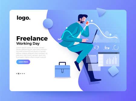 Mockup Landing page website. Illustrations concept businessman working with laptop. Vector illustrate.