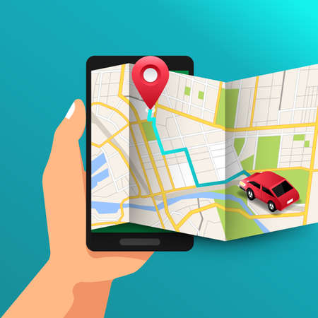 Illustrations design concept location maps with road follow route for destination drive by GPS navigator. Hand hold mobile maps. Vector isometric illustrate.