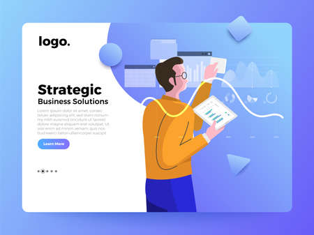 Mockup landing page website flat concept people of business solution. Strategic planner. Vector illustrations.