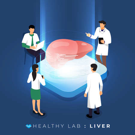 Isometric concept design lab via doctor analysis medical healthy about liver. teamwork education of science. Vector illustrate.