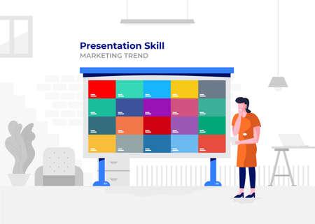 Illustration flat design cartoon concept people presentation skill. Workspace meeting room amd whiteboard show graph chart. Vector illustrate. Vector Illustration