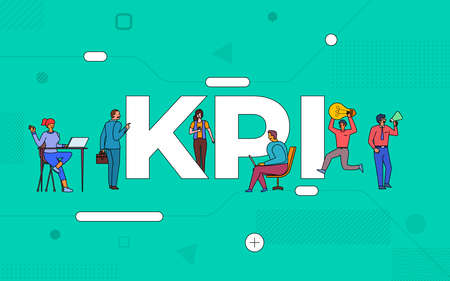 Illustrations business teamwork create business key performance indicator working together. buildind text concept KPI.Vector illustrate. Иллюстрация