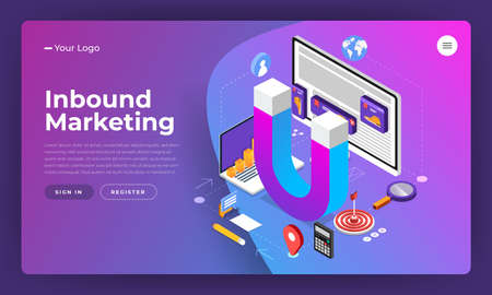 Isometric flat design concept inbound marketing. digital business solution for grab attention online consumer to finish conversion. Vector illustrate.