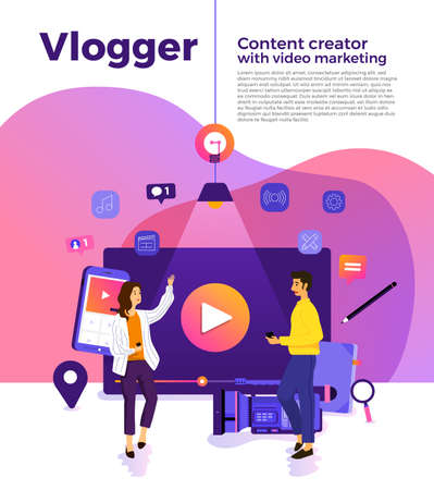 Illustration design concept VLOG. Video marketing by vlogger creation film production and online content. Motion graphic education. Vector illustrate.