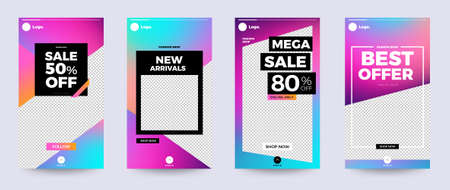 Design template set of social media platform share photo stories advertisign. Promotion banner for online store. Show discount, sales, new arrivals. Vector illustrate. Archivio Fotografico - 129946874