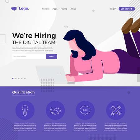 Landing page design concept we are hiring digital team. Illustrations group people worker teamwork present professional skill. Vector illustrate. Stock Illustratie