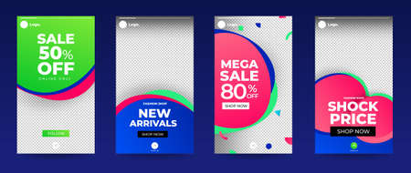 Design template set of social media platform share photo stories advertisign. Promotion banner for online store. Show discount, sales, new arrivals. Vector illustrate. Archivio Fotografico - 129946875