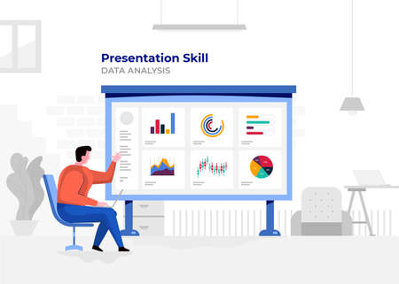 Illustration flat design cartoon concept people presentation skill. Workspace meeting room amd whiteboard show graph chart. Vector illustrate. Illusztráció
