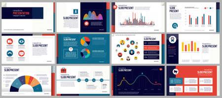 Elementi dei modelli di presentazione su uno sfondo sfumato rosa e viola. Decora con la grafica delle icone in bianco e nero. Infografica vettoriale. Utilizzo in presentazioni, marketing, pubblicità, relazioni annuali.