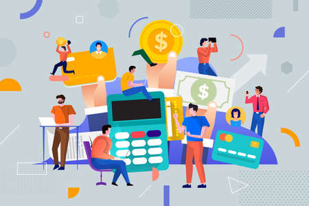 Illustrations flat design concept payment and money. People teamwork working together for success business. Decorate with geometric graphic icons. Vector illustrate.