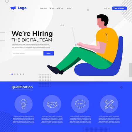 Landing page design concept we are hiring digital team. Illustrations group people worker teamwork present professional skill. Vector illustrate. Illusztráció