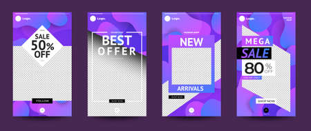 Design template set of social media platform share photo stories advertisign. Promotion banner for online store. Show discount, sales, new arrivals. Vector illustrate.