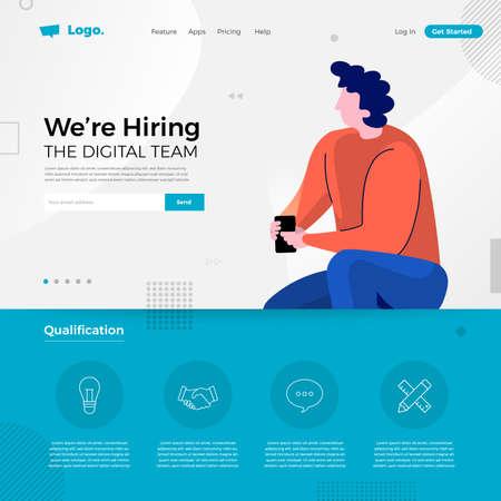 Landing page design concept we are hiring digital team. Illustrations group people worker teamwork present professional skill. Vector illustrate. Illustration