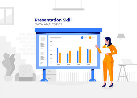 Illustration flat design cartoon concept people presentation skill data analystic. Workspace meeting room amd whiteboard show graph chart. Vector illustrate.