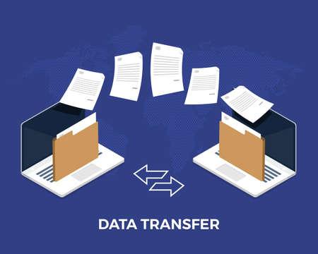 Flat design concept data transfer. Exchange information eith internet cloud technology. Vector illustrate. Illustration