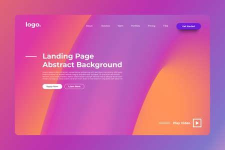 Landing page website mockup abstract background. Vivid bright gradient freeform like fluid. Concept dynamic graphic shape. Vector illustrate. Иллюстрация