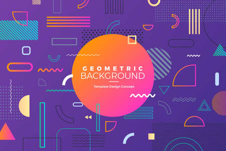 Geometric background bright colors and dynamic shape compositions. Template banner website. Vector illustrations.