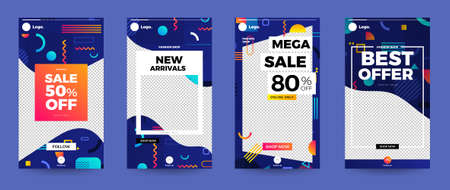 Design template set of social media platform share photo stories advertisign. Promotion banner for online store. Show discount, sales, new arrivals. Vector illustrate. Archivio Fotografico - 129947130