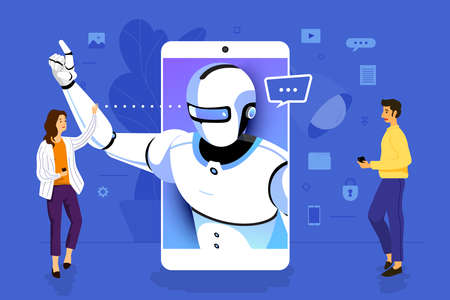 Illustration concept design businessman working to mobile application together building artificial intelligence. Vector illustrate.