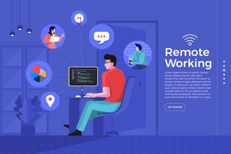 Illustrazioni del fumetto concetto di design piatto lavoro a distanza. Ovunque può essere un ufficio con tecnologia internet e wifi per connettere lavoratori e risorse. Il vettore illustra.