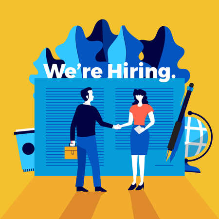 Illustrations flat design concept we're hiring. Announce design finding employee and recruit worker to company. Vector illustrate.