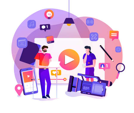 Illustration design concept VLOG. Video marketing by vlogger creation film production and online content. Motion graphic education. Vector illustrate. Illustration