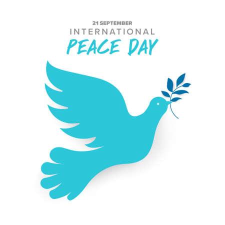 21 de septiembre, día internacional de la paz. Concepto de ilustración presente mundo de paz. Vector ilustrar.