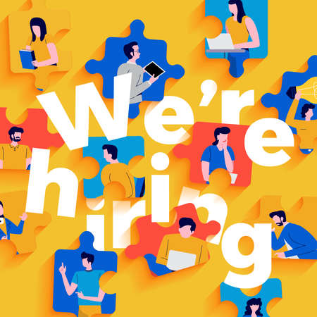 Illustrations flat design concept were hiring. Announce design finding employee and recruit worker to company. Vector illustrate. Иллюстрация