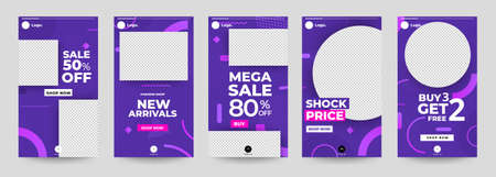 Design template set of social media platform share photo stories advertisign. Promotion banner for online store. Show discount, sales, new arrivals. Vector illustrate. Archivio Fotografico - 129947323