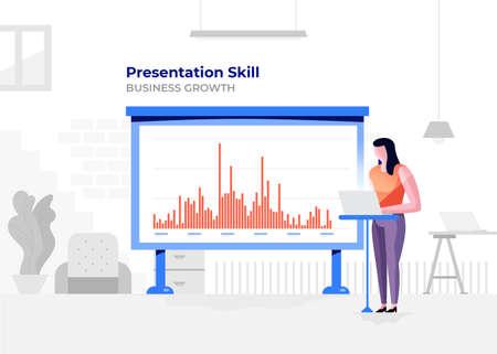 Illustration flat design cartoon concept people presentation skill. Workspace meeting room amd whiteboard show graph chart. Vector illustrate. Иллюстрация