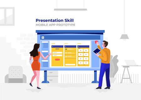 Illustration flat design cartoon concept people presentation skill. Mobile application prototype.  Workspace meeting room amd whiteboard show graph chart. Vector illustrate. Иллюстрация