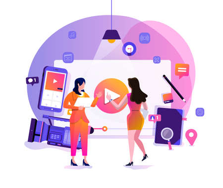 Illustration design concept VLOG. Video marketing by vlogger creation film production and online content. Motion graphic education. Vector illustrate. Иллюстрация