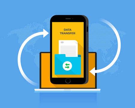 Flat design concept data transfer. Exchange information eith internet cloud technology. Vector illustrate. Иллюстрация