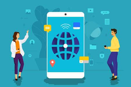 Illustration concept design businessman working to mobile application together building world wide web. Vector illustrate.