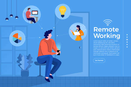 Illustrations cartoon flat design concept remote working. Everywhere can be office with technology internet and wifi for connecting worker and resource. Vector illustrate.