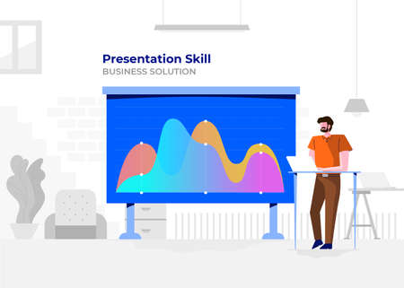 Illustration flat design cartoon concept people presentation skill. Workspace meeting room amd whiteboard show graph chart. Vector illustrate. Иллюстрация