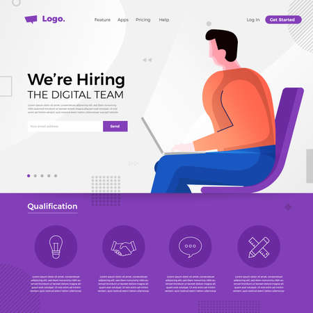 Landing page design concept we are hiring digital team. Illustrations group people worker teamwork present professional skill. Vector illustrate. Иллюстрация