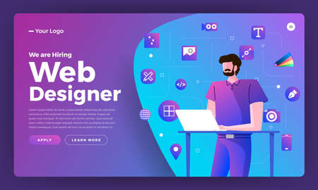 Flat design concept we are hiring web designer. Landing page template design for hiring web designe people. Vector illustrations.