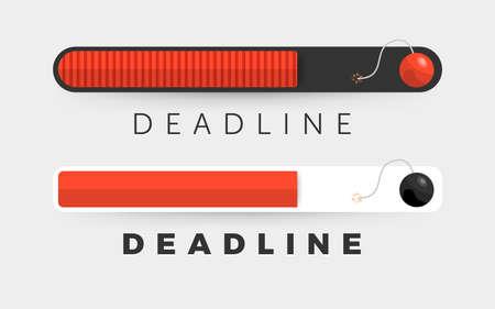 Flat design concept deadline. Businessman working on timeline less. Time management people. Vector illustrate.