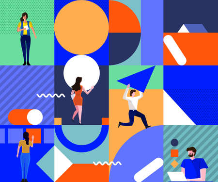 Illustrations concept design people teamwork building project together by arranging abstract geometric shapes. Modern flat cartoon vector illustration. - Vector.