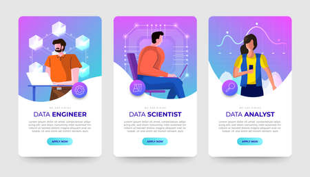 Banner set Jobs of data technology expert. Data engineer, Scientist and analyst. Vector flat design concept illustrations.