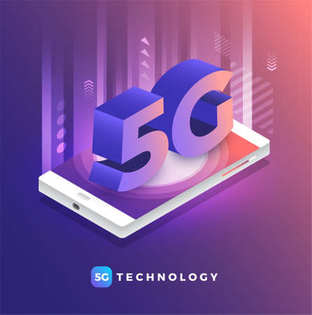 Illustrations concept design 5G technology Increase connection efficiency to internet of things and device with highspeed. Vector illustrate.