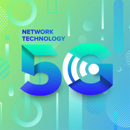 Illustrations concept design network 5G technology. Typography 5G on abstract background. Vector illustrate.