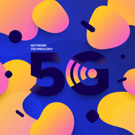Illustrations concept design network 5G technology. Typography 5G on abstract background. Vector illustrate. Vektorové ilustrace