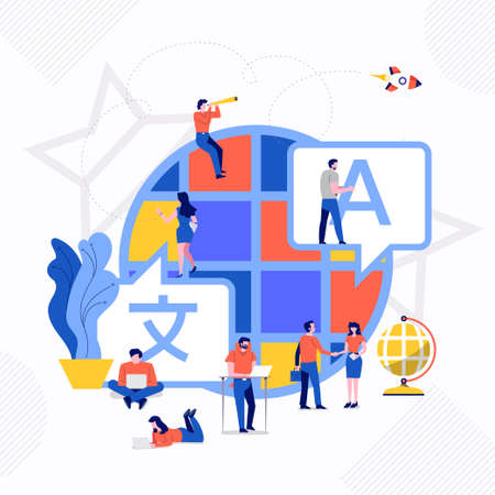 Illustrations flat design concept language translate. People working on icon translate application. Vector illustrate.