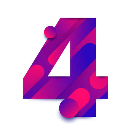 Number arabic 4 (four). typeface in abstract gradient background. Vector Illustrate. Ilustración de vector